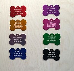 Engraved Dog Tag Personalised Bone Id Name Pet Cat Tags 8 Colours for Collar