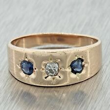 1880s Antique Victorian 14k Solid Rose Gold Diamond .18ctw Sapphire Band Ring