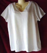 Woman's White V Neck Pullover Top Size Large  NWOT Roaman's 100% Cotton