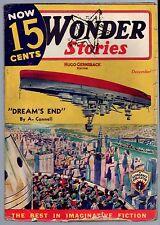 GLOSSY UNREAD Sci-Fi Pulp! Dec 1935 'NOW 15c CENTS WONDER STORIES' Star Stamp