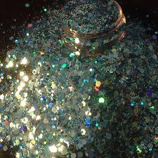 Mezcla de brillo hermoso arte en uñas océano azul para acrílico y gel de aplicación