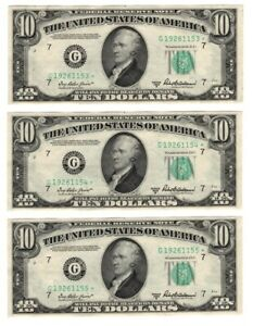 (3) Consecutive 1950 B $10 US Currency STAR Notes FR# 2012G* C3002