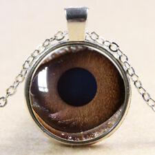 Vintage tiger eye Cabochon Tibetan Silver Glass Chain Pendant Necklace E