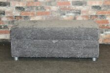 LARGE GREY FABRIC STORAGE FOOTSTOOL (582)