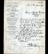 """PARIS (XI°) MARBRIER Pierre Marbre Granit """"B. LEBEGUE / J. POULAIN Succ"""" en 1923"""