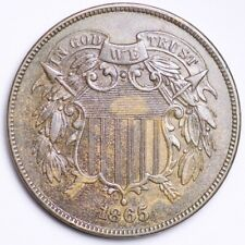 1865 Two Cent Piece CHOICE AU+/UNC FREE SHIPPING E183 GEJ