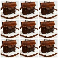 Men's Genuine Leather Vintage Messenger Handmade Briefcase Bag Satchel 5 Pcs Lot