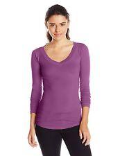 Derek Heart Womens Juniors LS V-Neck Fitted Stretch T-Shirt Tee Size Medium 7-9