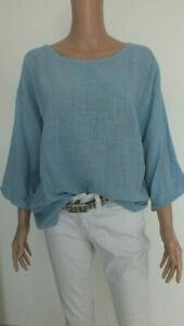 NEU ITALY Oversize Tunika Bluse Leinen Optik Kimono blau M L 36 38 40 42 44