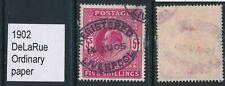 GB, 1902 5/- dp bright carm.(tiny pinhole),DLR ordinary paper, SG264, cat £220