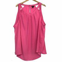 TORRID 3 Plus Size Hot Pink High Neck Georgette Tank Top Sleeveless Cutout 3X