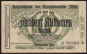 1923 100 Million Mark Speyer Germany Vintage Emergency Paper Money Banknote VF