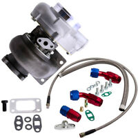 Turbo Cargador Kit para GT30 GT3076 GT3037 + Oil Drain Return & Oil FEED Line