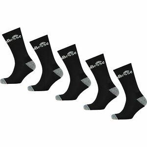 ELLESSE Men's 5-pack Sport Performance Crew Socks, Black, UK 7-11