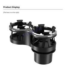 Universal Car Mounted Drink Holder Adjustable Base Elastic Double Frame Black