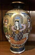 "Large 12"" MEIJI PERIOD Glazed & Gilded JAPANESE SATSUMA Vase Of Immortals"