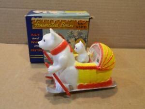 OK Co. Polar Bears On Sled Friction Toy Original Box No.3392 Hong Kong 1950's