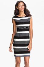 Calvin Klein 'Stretch Luxe' Belted Sheath Dress Brand New