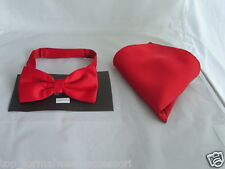 <TOP's Deal> RED Polyester Pre-tied Bow tie and Hankie Se t>P&P Via 1st Class !!