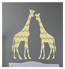 2 Giraffes Chevron Pattern Wall Decals Sticker Nursery Decor Art Mural