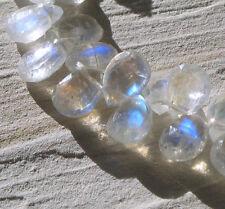 10  facc. top klare regenbogen mondstein briolette perlen gebohrt ca. 7-10mm