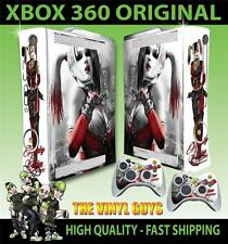 XBOX 360 VECCHIO ADESIVO FORMA HARLEY QUINN BATMAN ARKHAM SKIN e 2 SKIN PER PAD