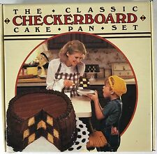 Classic Checkerboard Cake Pan Set Chicago Metallic 3 Silver Pans Batter Divider