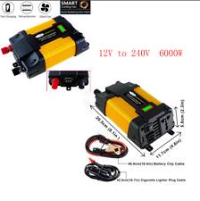 12v 220v Car Power Sine Wave Converter 6000w Charger Inverters +2 USB Interfaces