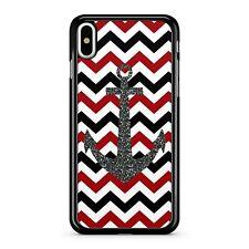 Ocean Sea Ship Anchor Red Black White Chevrons Pattern Fine Phone Case Cover