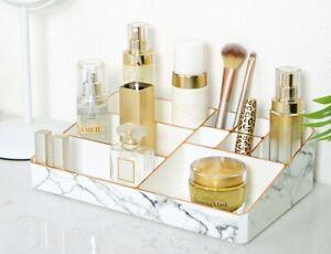 White/Rose Gold Trim Marble Make Up Organiser