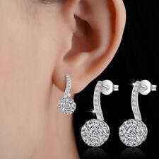 Solid 925 Sterling Silver Cubic Zirconia CZ Balls Beads Stud Drop Earrings