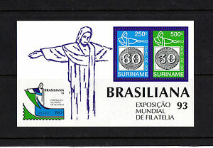 NICE MINT S/SHEET OF SURINAME,(STAMP ON STAMP),PHILATELIC EXHEBITION 93, MNH**