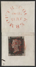 SG2 1840 1d. Black, AI, on piece tied by a red maltese cross. E1307
