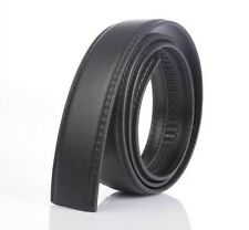 Black Mens Leather Belt Waistband For Automatic Buckle Without Buckle 120CM