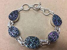 """NEW 925 Sterling Silver w. Dust Dusty Gemstone Bangle Bracelet 7-8.75"""""""
