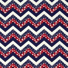Patriotic Chevrons Red White and Blue Stars Chevron Cotton Fabric Fat Quarter