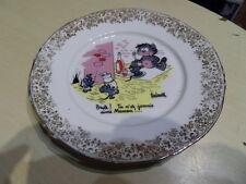 Assiette plate porcelaine de Limoges humouristique signé BARBEROUSSE déco CHAT