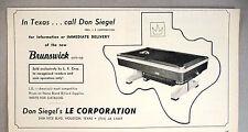Brunswick Pool Table PRINT AD - 1968 ~ billiard, Don Siegel