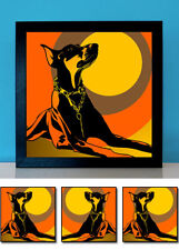 Dobermann orange 3 x popart Hund Poster Retro Design Foto Porträt Portrait Bild