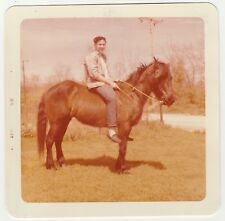 Vintage 50s PHOTO Teen Boy Guy Riding Horse On Horseback