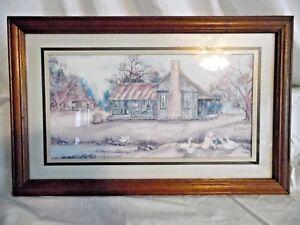 Vtg. Framed Rustic Farmhouse w/Little Boy Feeding Domestic Geese Print