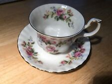 "Royal Albert Bone China ""Moss Rose"" 2 Pc. Tea Cup and Plate 1956 England"