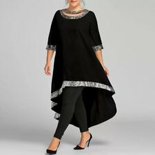 Women Elegant Hi Low  Black with Silver sequin Party Evening Dress Top UK STOCK