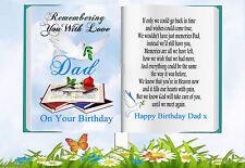 DAD BIRTHDAY BOOK SHAPED MEMORIAL BEREAVEMENT GRAVESIDE CARD & FREE HOLDER