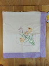 "Vintage Table Cloth EMBROIDERED TULIPS Purple Border 40"" x 40"""