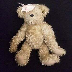 """Annette Funicello 16"""" Curly Hair Tan Bear Bow and Ear Tag"""