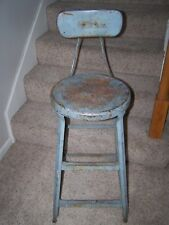 Vintage Industrial Age Metal Round Stool Chair Steampunk