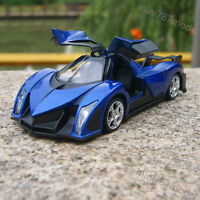 Devel Sixteen Super Cars Model 1:32 Toy Sound&Light Blue Gifts Alloy Diecast New