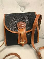 Vintage Dooney And Bourke Navy Blue Brown Leather Long Cross Body Bag Purse