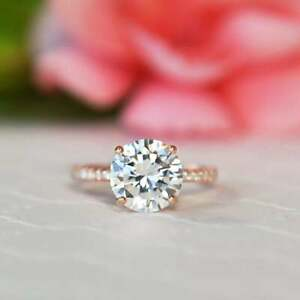 Half Eternity Accented Engagement Ring 3.25 CT Round Diamond 14K Rose Gold Over